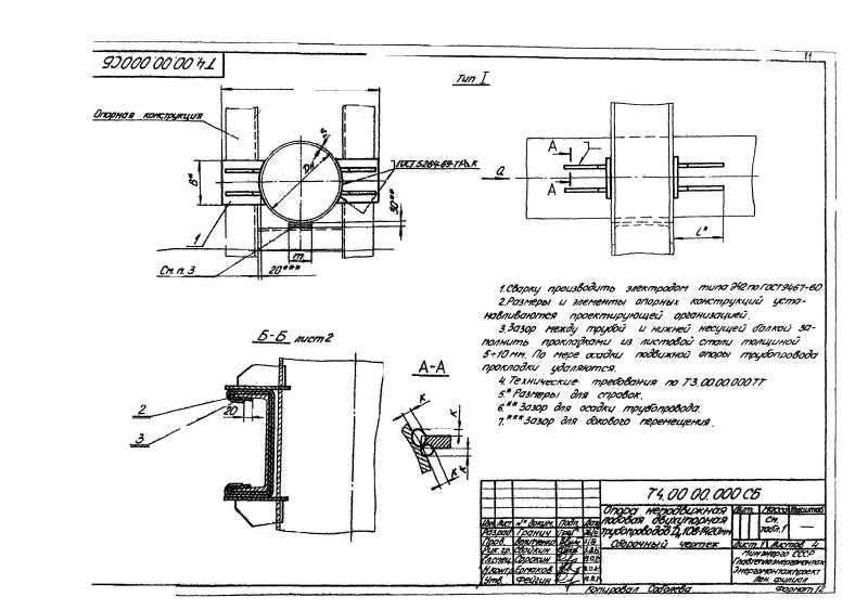 Опора трубопроводов двухупорная неподвижная Т4. Страница 1